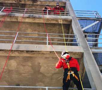 High-angle rescue training course. Rescue worker from suspended or elevated fall arrest system, or from trenches, excavations, and confined spaces.