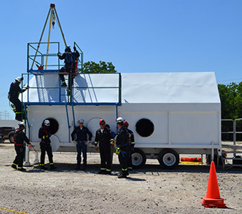 Confined space rescue training. Hands-on, on-site rescue course teaches proper confined space procedures in emergency situations.