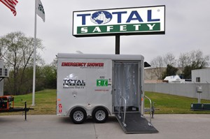 Total Safety offers decontamination shower trailers for remote locations.